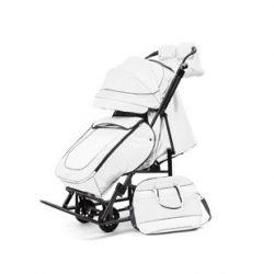 """Санки-коляски Pikate Deluxe «White» (морозостойкая экокожа, овчина, 3 положения спинки, краска рамы """"черный металлик"""")"""