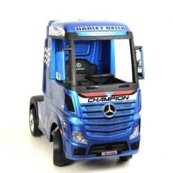 Электромобиль Mercedes-Benz Actros (HL358) 4WD синий глянец (колеса резина, кресло кожа, пульт, музыка)